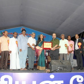 Receiving the RK Narayan award at the Chennai Book Fair 2019